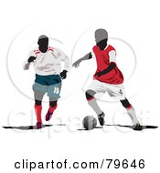 Two Faceless Male Soccer Players Version 3 by leonid