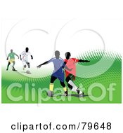 Sports Background Of A Soccer Game On A Green Halftone Hill Over White