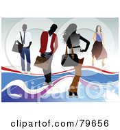 Royalty Free RF Clipart Illustration Of Four Faceless Men And Women With Shoulder Bags by leonid