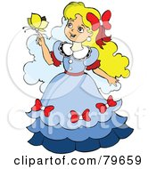 Royalty Free RF Clipart Illustration Of A Pretty Blond Girl With A Yellow Butterfly On Her Hand by leonid