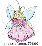 Royalty Free RF Clipart Illustration Of A Pretty Blond Fairy Princess Girl In A Pink Dress