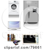Royalty Free RF Clipart Illustration Of A Digital Collage Of Home Appliances And Books by leonid