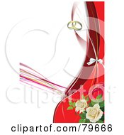 Royalty Free RF Clipart Illustration Of A Wedding Background With Gold Rings Red Waves And White Roses
