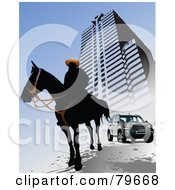 Royalty Free RF Clipart Illustration Of A Silhouetted Horseman By An Urban Building And SUV On Blue by leonid