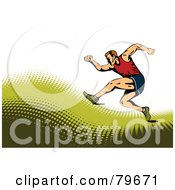 Royalty Free RF Clipart Illustration Of A Sports Background Of A Male Runner On A Green Halftone Hill Over White