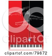 Royalty Free RF Clipart Illustration Of A Microphone Hanging Over A Keyboard With White Sheet Music On Red And Black