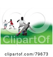 Royalty Free RF Clipart Illustration Of A Sports Background Of A Soccer Game On A Green Halftone Hill Over White by leonid