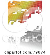 Royalty Free RF Clipart Illustration Of A White Background With Silver And Gradient Tiles