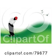 Royalty Free RF Clipart Illustration Of A Sports Background Of A Male Golfer On A Green Halftone Hill With Birds Over White