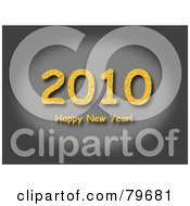 Royalty Free RF Clipart Illustration Of A Yellow Happy New Year Greeting Under 2010 On Gray