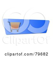 Royalty Free RF Clipart Illustration Of An Orange Shopping Cart On A Blue Checkout Website Button