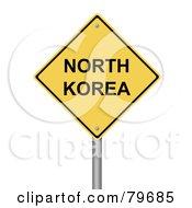 Royalty Free RF Clipart Illustration Of A Yellow North Korea Warning Sign