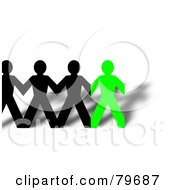 Royalty Free RF Clipart Illustration Of A Row Of Connected Black And Green Paper People And Shadows