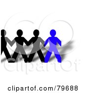 Royalty Free RF Clipart Illustration Of A Row Of Connected Black And Blue Paper People And Shadows