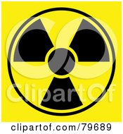Black And Yellow Radiation Symbol On Yellow