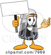 Pepper Shaker Mascot Cartoon Character Holding A Blank Sign