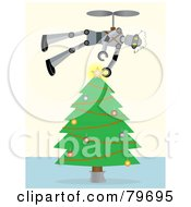Royalty Free RF Clipart Illustration Of A Flying Robot Putting The Star Topper On A Trimmed Christmas Tree by mheld