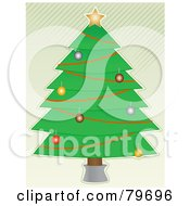 Trimmed Christmas Tree Over A White Background With Diagonal Green Stripes