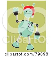 Friendly Green Springy Robot Waving And Wearing A Santa Hat