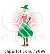 Royalty Free RF Clipart Illustration Of A Blond Christmas Elf Woman In A Green Skirt by mheld