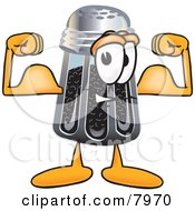 Clipart Picture Of A Pepper Shaker Mascot Cartoon Character Flexing His Arm Muscles by Toons4Biz
