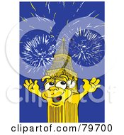 Royalty Free RF Stock Illustration Of Big Ben The Clock Tower Under Fireworks by Snowy