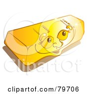 Royalty Free RF Stock Illustration Of A Happy Shiny Gold Bullion Bar Face by Snowy