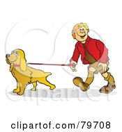 Royalty Free RF Stock Illustration Of A Happy Young Man Walking His Cocker Spaniel Dog by Snowy