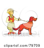 Blond Woman Holding The Leash To Her Setter Dog