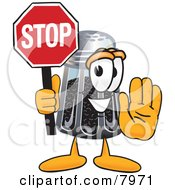 Pepper Shaker Mascot Cartoon Character Holding A Stop Sign