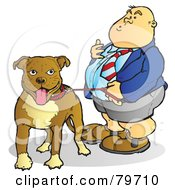 Royalty Free RF Stock Illustration Of A Fat Man Standing With His Leashed Pit Bull Dog by Snowy