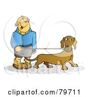 Royalty Free RF Stock Illustration Of A Happy Young Man Walking His Wiener Dog by Snowy