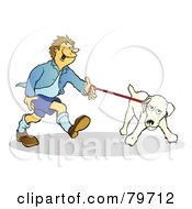 Royalty Free RF Stock Illustration Of A Stubborn Jack Russell Terrier Dog Pulling His Master On The Leash by Snowy