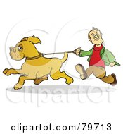 Royalty Free RF Stock Illustration Of A Dog Running And Pulling Against The Leash His Master Is Gripping by Snowy
