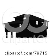Royalty Free RF Clipart Illustration Of A Black And Gray Two Story House by JR