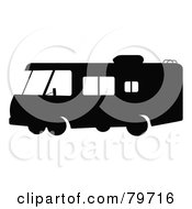 Royalty Free RF Clipart Illustration Of A Black And White Motorhome With Big Windows Version 1