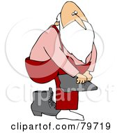 Royalty Free RF Stock Illustration Of Father Christmas Lifting One Leg To Put On Boots by djart