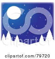 Royalty Free RF Stock Illustration Of White Silhouetted Trees On Hills Under A Starry Blue Sky With A Full Moon