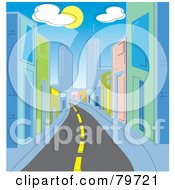 Royalty Free RF Stock Illustration Of A Deserted Street Leading Through A City With Colorful Buildings Under Clouds And The Sun by Rosie Piter
