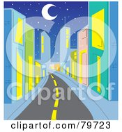 Deserted Street Leading Through A City With Colorful Buildings Under A Crescent Moon And Stars