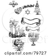 Royalty Free RF Clipart Illustration Of A Digital Collage Of Carved Black And White Banners Candles Santa Menorah Christmas Tree Star Of David And Angel by xunantunich