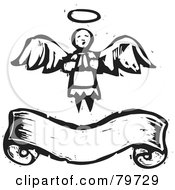 Royalty Free RF Clipart Illustration Of A Black And White Praying Angel Over A Banner With A Carved Texture by xunantunich