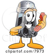 Clipart Picture Of A Pepper Shaker Mascot Cartoon Character Holding A Telephone