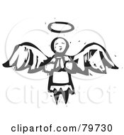 Black And White Carved Praying Angel