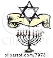 Royalty Free RF Clipart Illustration Of A Carved Menorah Under A Star Of David And Banner