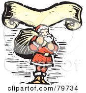 Royalty Free RF Clipart Illustration Of A Carved Santa Carrying A Sack Under A Yellow Banner