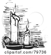Royalty Free RF Clipart Illustration Of A Black And White Carved Melting Candles