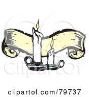 Royalty Free RF Clipart Illustration Of Two Melting Candles In Front Of A Yellow Carved Banner