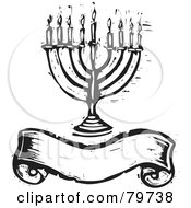 Royalty Free RF Clipart Illustration Of A Black And White Carved Menorah Over A Blank Banner by xunantunich #COLLC79738-0119
