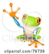 Royalty Free RF Clipart Illustration Of An Adorable Tree Frog With A Raised Foot by Oligo
